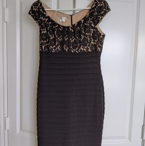 Black and beige lace top cocktail dress
